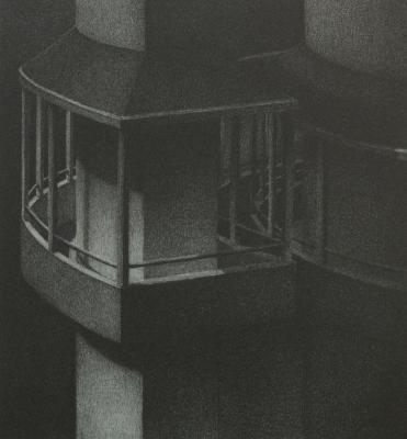"""Phillip Chen, Stone Boat: Narrows, lithograph, 6.875"""" x 6.375"""", 1993"""