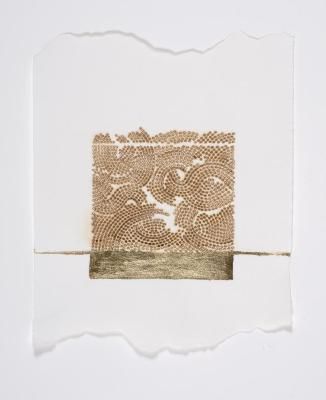 "Donna Ruff, Seam, gold leaf and burns on paper, 12"" x 9"", 2014"