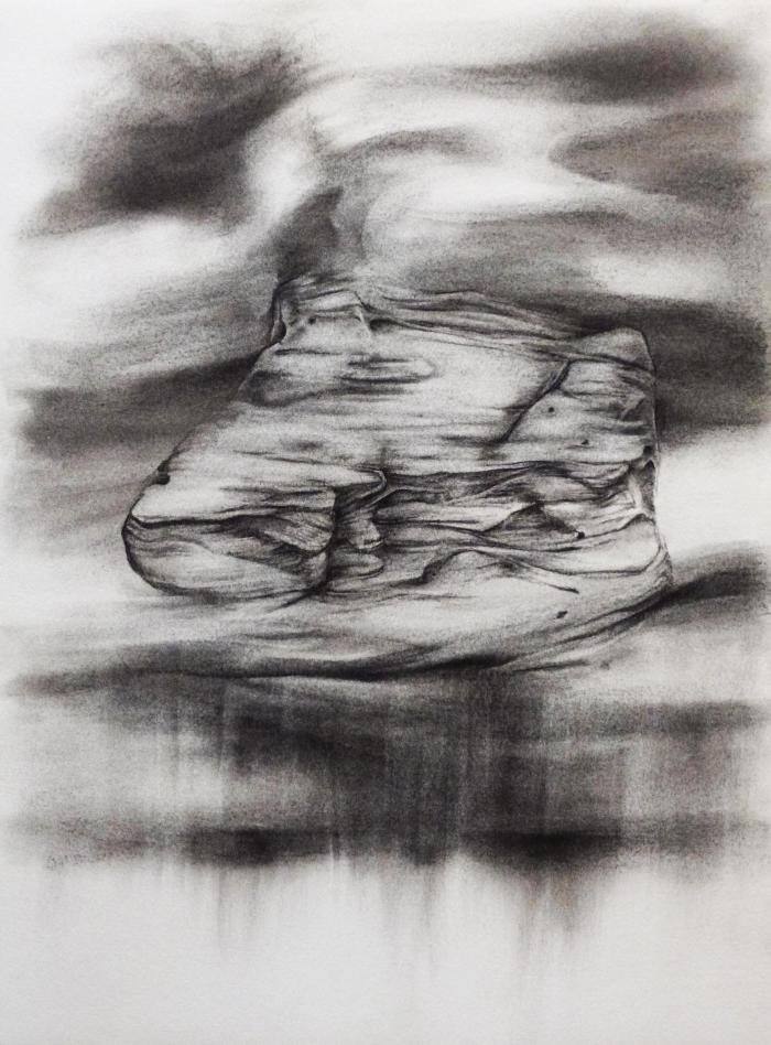 """Dawn Lee, Great Sand Dunes, Elements #1 Study 5, charcoal on paper, 15"""" x 11"""", 2012"""